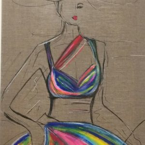 Femme de style sur toile de lin