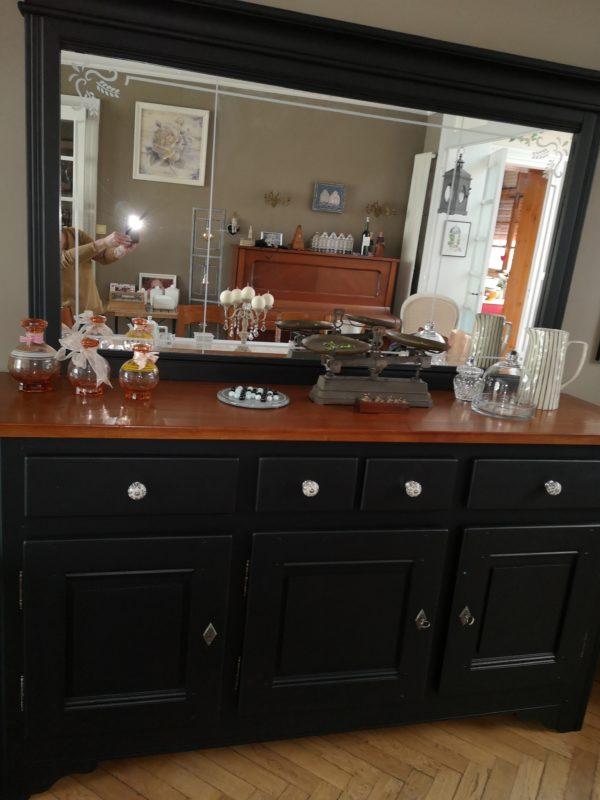 buffet merisier en noir mat velouté
