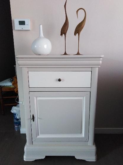 Petit meuble 1 tiroir merisier relooké