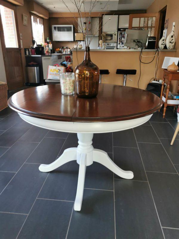 Table merisier relookée
